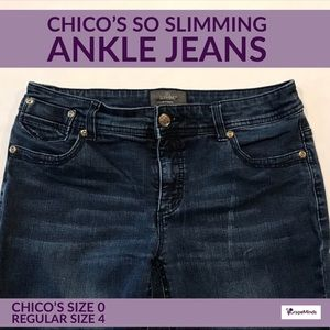 🔴 Chico's So Slimming Ankle Blue Jeans 0 4
